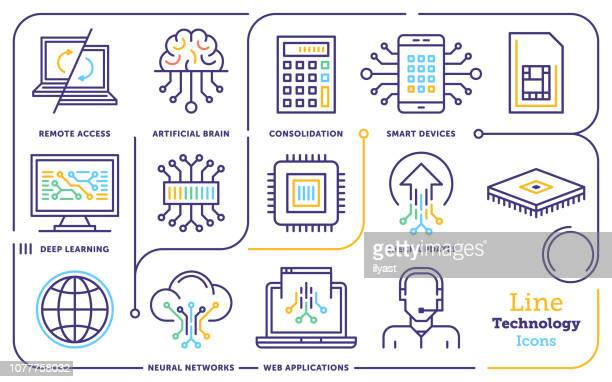 artificial intelligence & machine learning line icon set - artificial stock illustrations