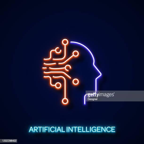 illustrazioni stock, clip art, cartoni animati e icone di tendenza di intelligenza artificiale stile neon, elementi di design - intelligenza artificiale