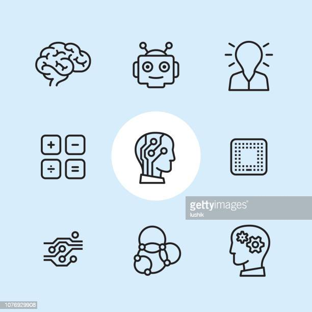 artificial intelligence - outline icon set - neuroscience stock illustrations