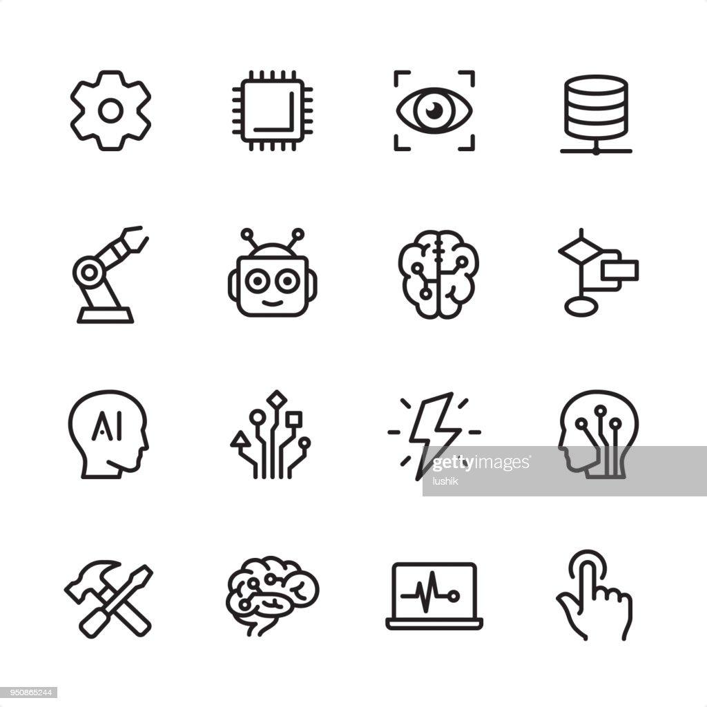 Inteligência artificial - conjunto de ícones de contorno : Ilustração