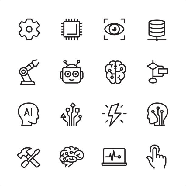 artificial intelligence - outline icon set - human body part stock illustrations