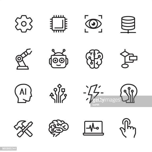 artificial intelligence - outline icon set - technology stock illustrations