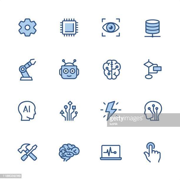 人工知能 - ピクセルパーフェクトブルーアウトラインアイコン - 機械アーム点のイラスト素材/クリップアート素材/マンガ素材/アイコン素材