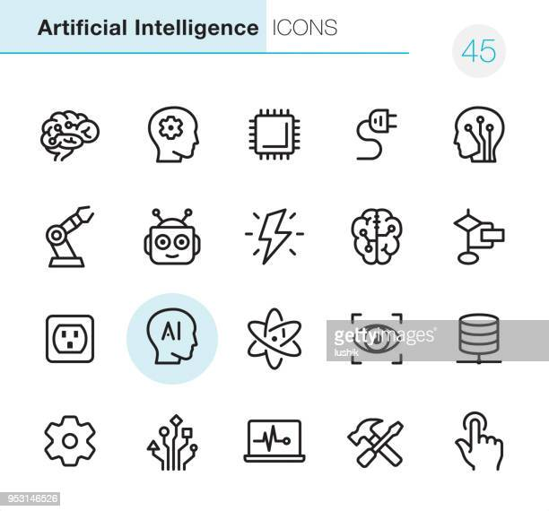 artificial intelligence - pixel perfect icons - technology stock illustrations