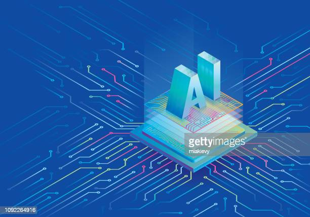 artificial intelligence processing chip - computer chip stock illustrations