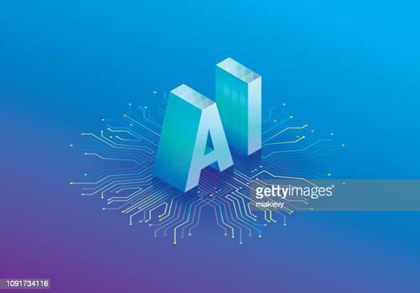ilustrações, clipart, desenhos animados e ícones de processador de inteligência artificial - chip de computador