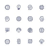 Artificial Intelligence Related Vector Icon AI, robot, chipping, setting. Editable Stroke