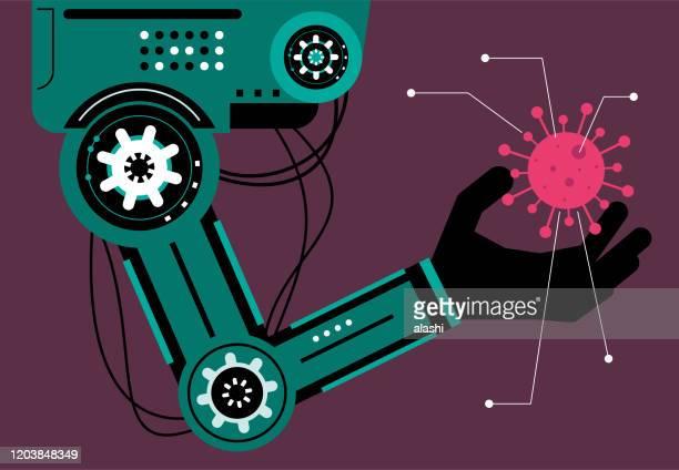 コロナウイルス(細菌、生物細胞、ウイルス)を解析する人工知能ロボット(ロボットアーム) - 工業用ロボット点のイラスト素材/クリップアート素材/マンガ素材/アイコン素材