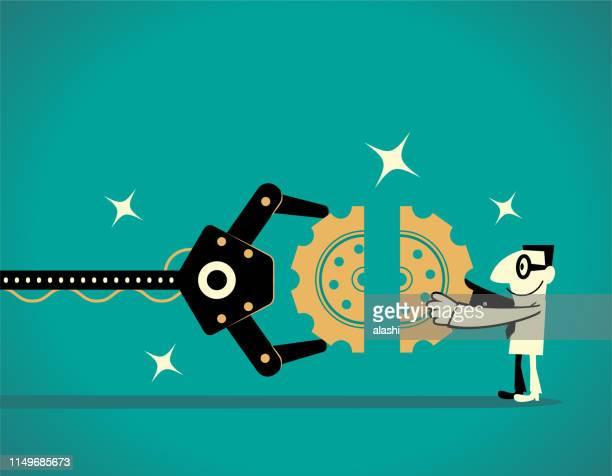 人工知能ロボットアームとビジネスマンは、ギアのジグソーパズルを完了します (チームワーク) - 機械アーム点のイラスト素材/クリップアート素材/マンガ素材/アイコン素材