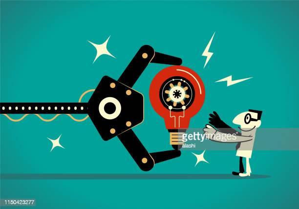 ビジネスマンに大きなアイデア電球を示す人工知能ロボットアーム (メーカー) - 機械アーム点のイラスト素材/クリップアート素材/マンガ素材/アイコン素材