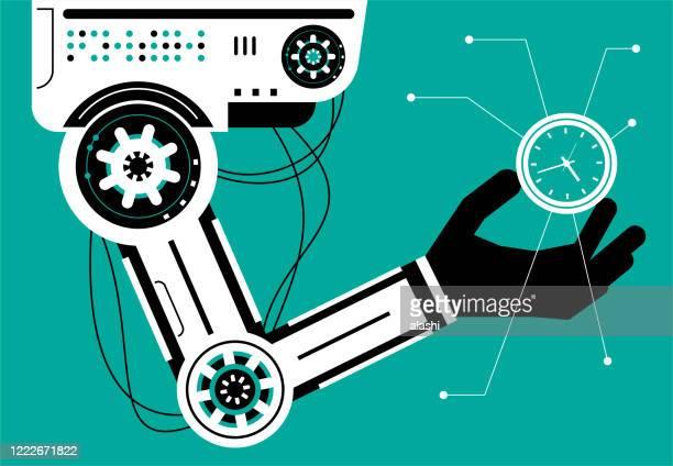 時計を搭載した人工知能ロボット(ロボットアーム) - 機械アーム点のイラスト素材/クリップアート素材/マンガ素材/アイコン素材