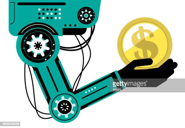 Artificial intelligence Robot (Robotic arm) carrying a dollar sign gold currency coin