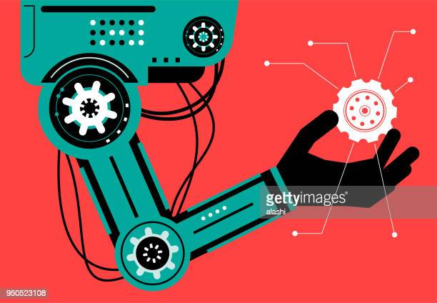 artificial intelligence robot (robotic arm) carrying a gear - robot stock illustrations