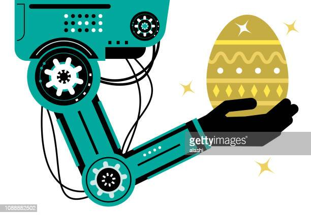 Artificial intelligence Robot (Robotic arm) carrying a gold Easter Egg