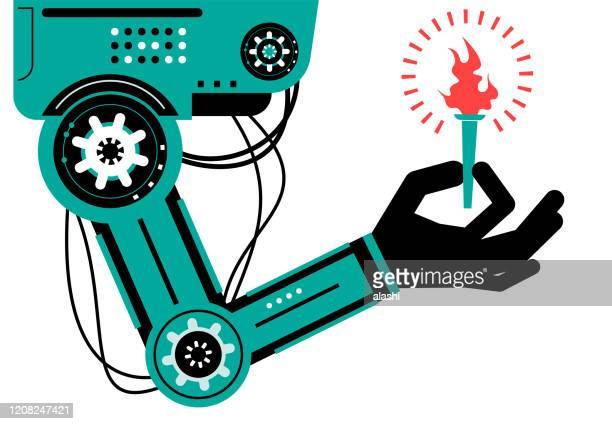 炎のトーチを持つ人工知能ロボット(ロボットアーム) - 後任点のイラスト素材/クリップアート素材/マンガ素材/アイコン素材