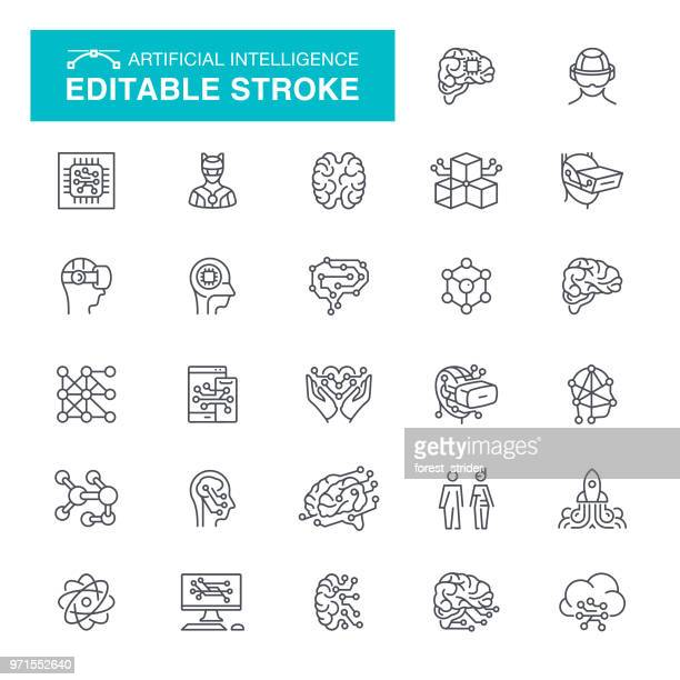 artificial intelligence set editable stroke icons - artificial stock illustrations