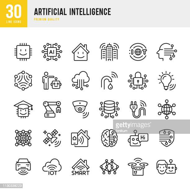 artificial intelligence - set of line vector icons - computer part stock illustrations
