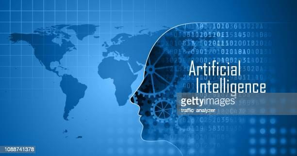 stockillustraties, clipart, cartoons en iconen met kunstmatige intelligentie - menselijk hoofd