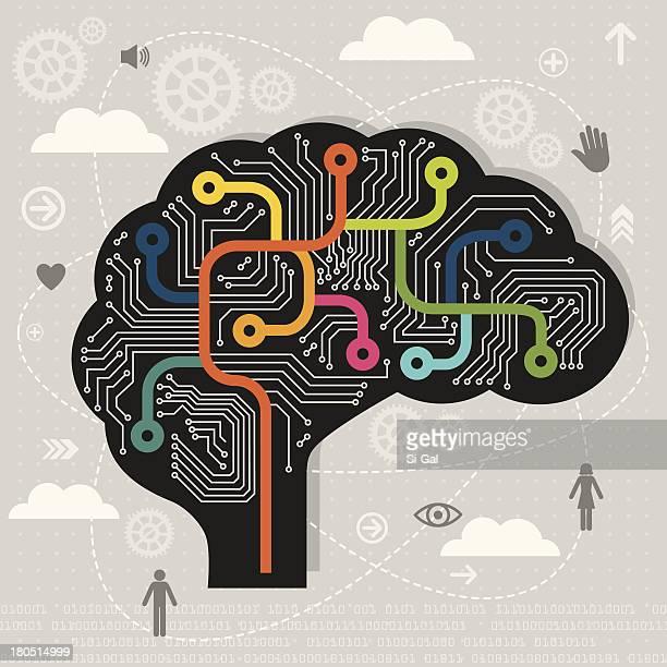 artificial intelligence - sensory perception stock illustrations
