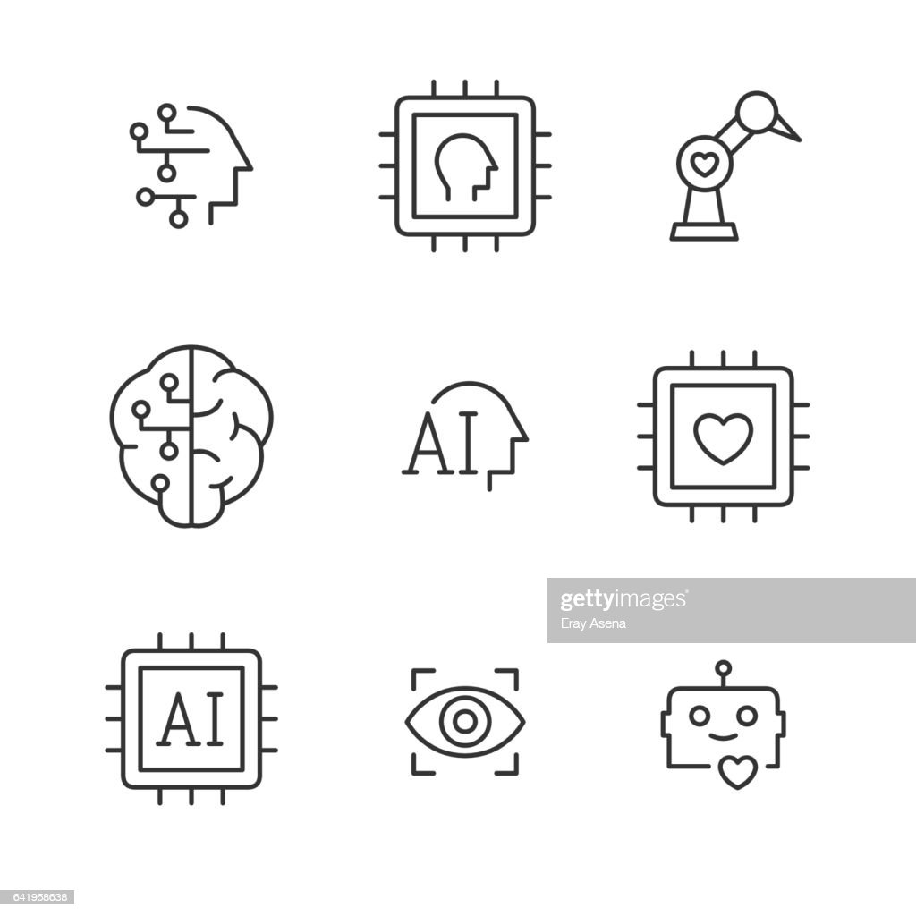 Artificial intelligence vector line icons.
