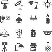 artificial light lamp icon set vector