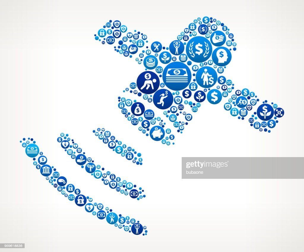 Künstliche Satelliten Geld blaues Symbol Muster Hintergrund : Stock-Illustration