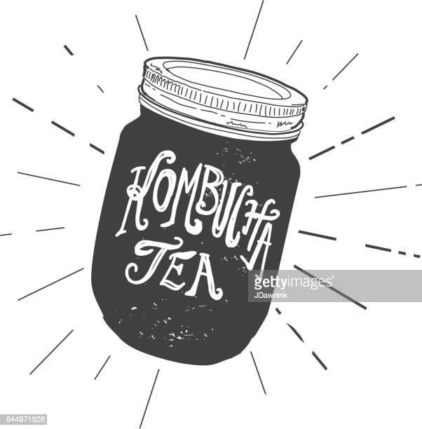 artisan kombucha tea label hand lettering design - artisanal food and drink stock illustrations, clip art, cartoons, & icons