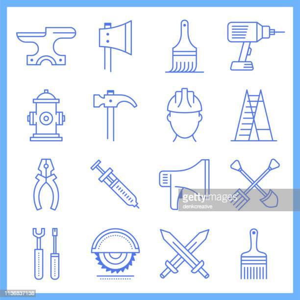 artisan labour workshop blueprint style vector icon set - earthenware stock illustrations, clip art, cartoons, & icons