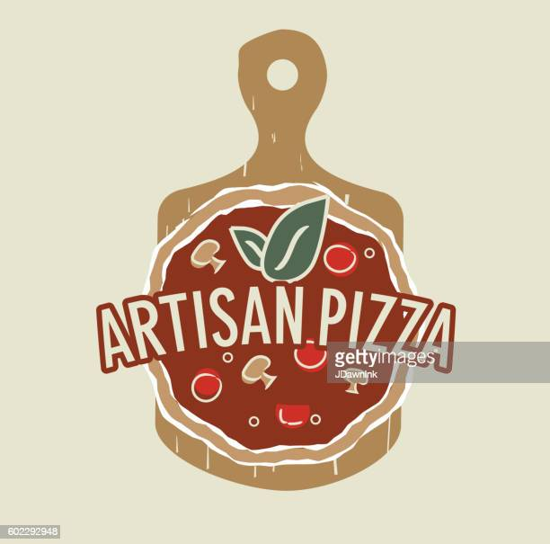 artisan pizza icon design - artisanal food and drink stock illustrations, clip art, cartoons, & icons