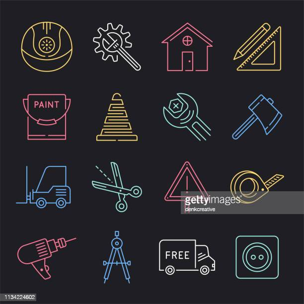 artisan production & economy neon style vector icon set - artisanal food and drink stock illustrations, clip art, cartoons, & icons