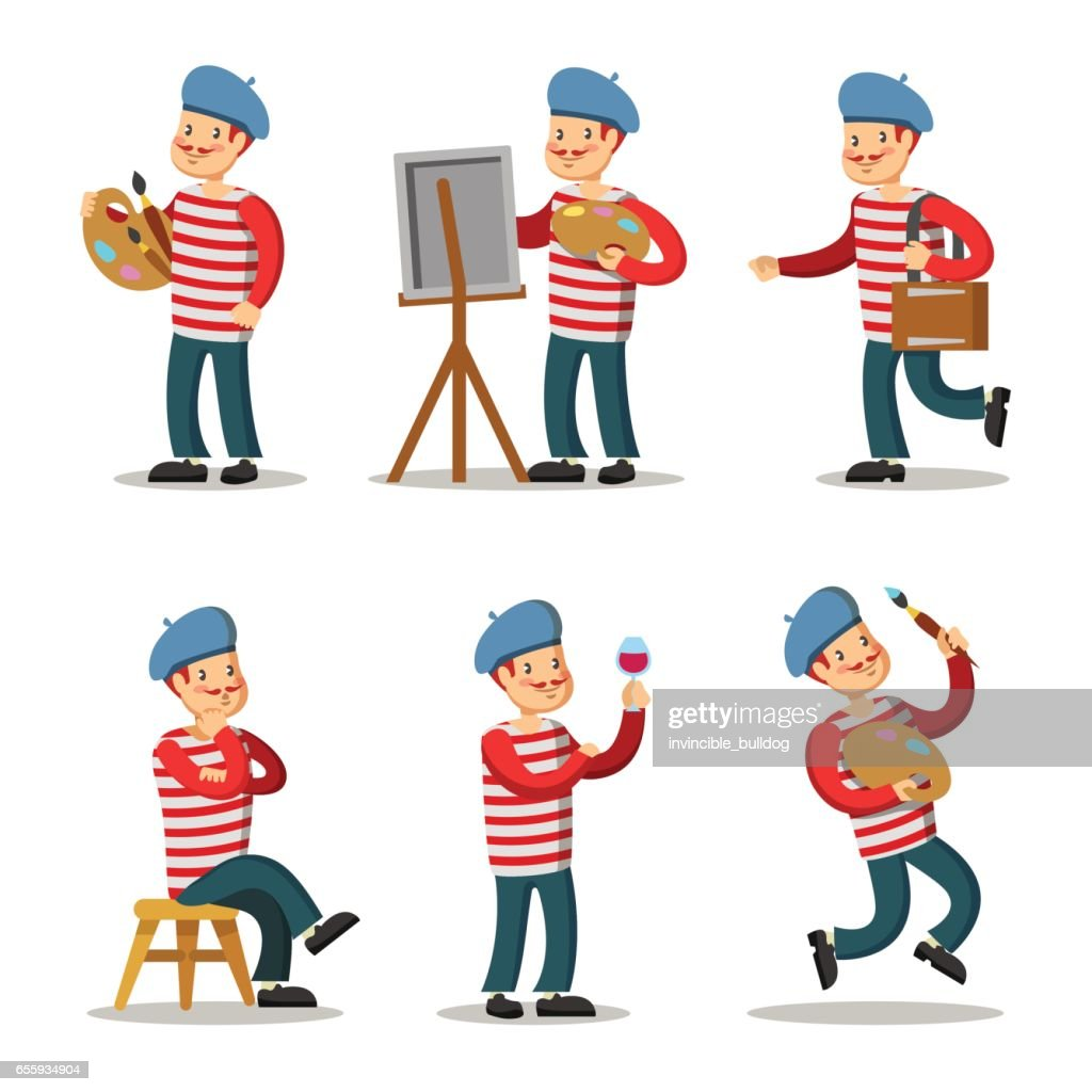 Artist Cartoon Character Set. Painter with Palette. Vector illustration