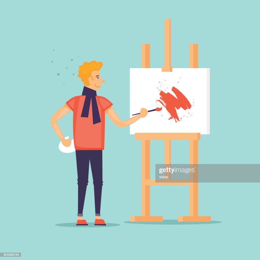Artist draws a picture. Flat design vector illustration.