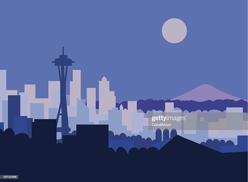 Artist impression of Seattle at night