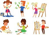 Artist kids children vector set.