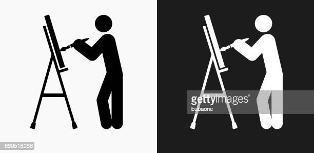 Artist Painting Icon on Black and White Vector Backgrounds