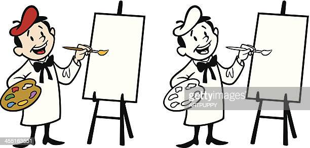artist painting on canvas - easel stock illustrations