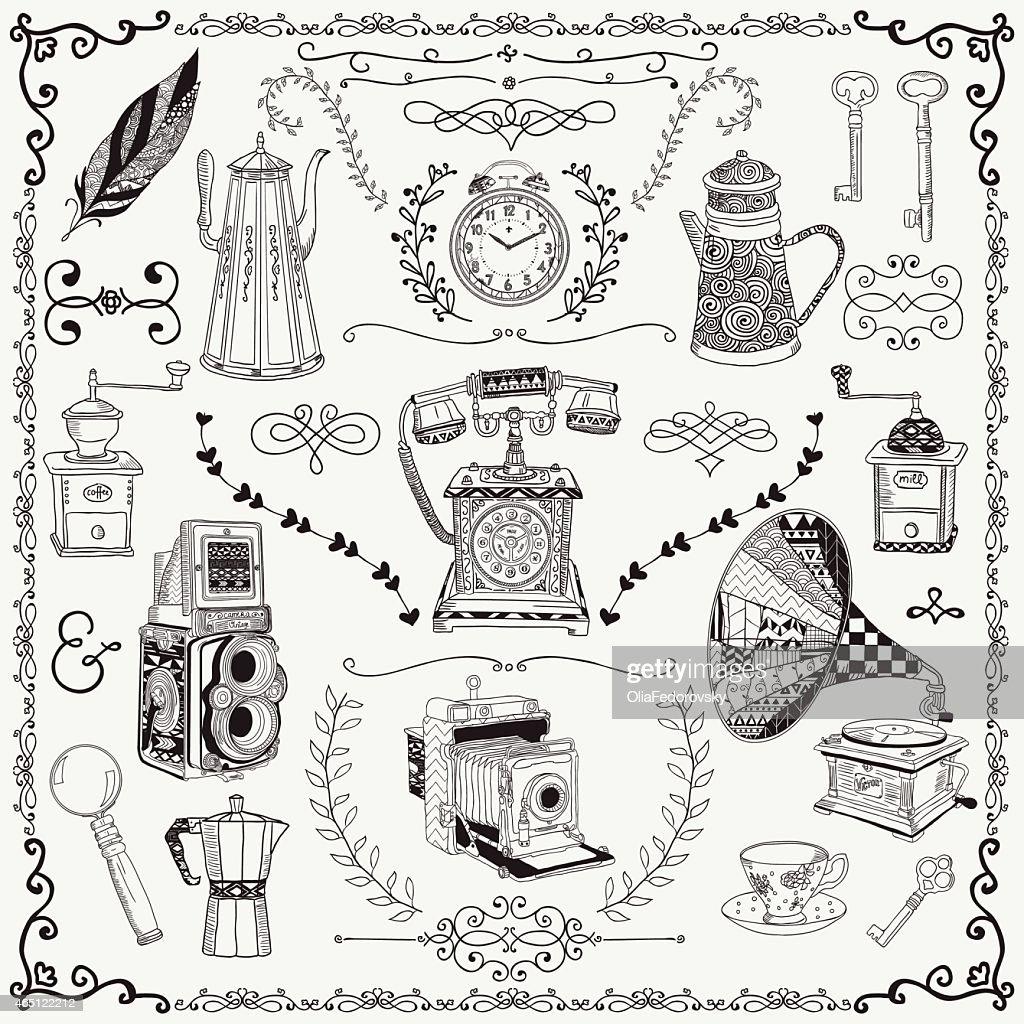 Artist rendering of vintage items