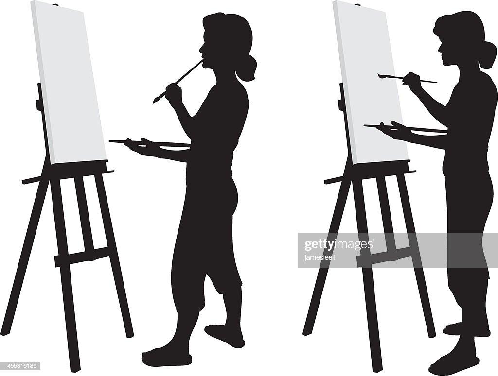 Силуэт художницы картинки, родной
