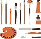 Artist tools, palette, paints and brush - Illustration