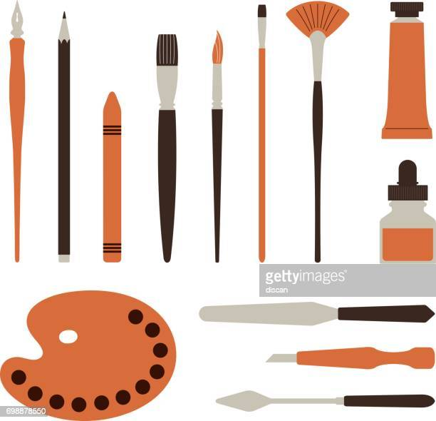 artist tools, palette, paints and brush - illustration - painted image stock illustrations
