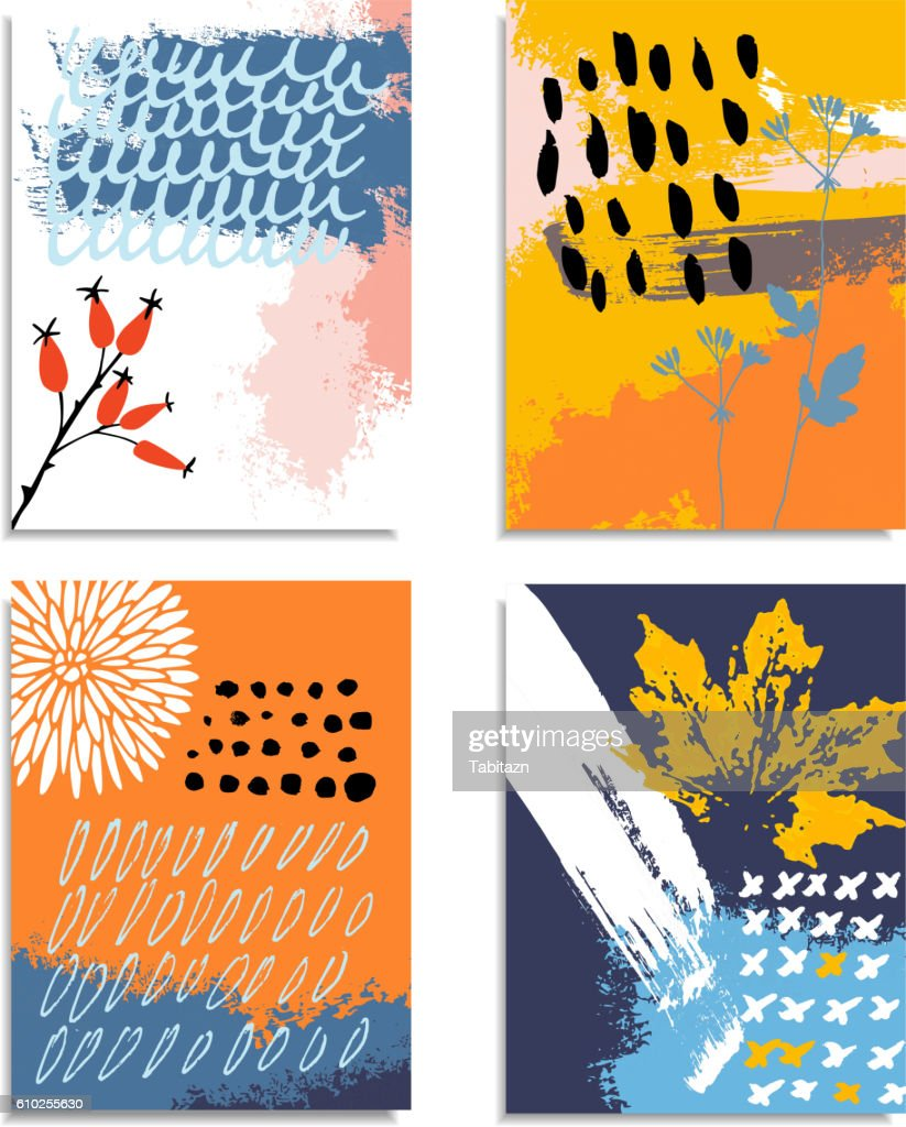 Artistic abstract hand drawn cards, invitations. Autumn design.