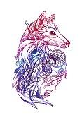 Artistic fox with Dreamcatcher. Graphic arts