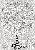 Artistic tree with houses.  Pattern for coloring book.