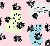 Artistic vector background in trendy 80s 90s style. Messy pattern with ink flowers and hand drawn style elements