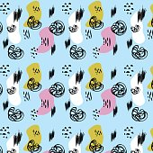 Artistic vector background in trendy 80s 90s style. Messy pattern with ink shapes and hand drawn style elements