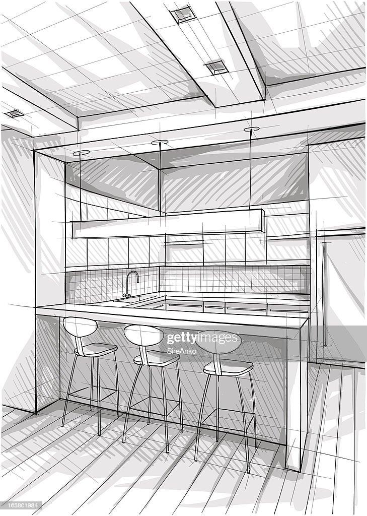 Artist's sketch of a semi open floor plan