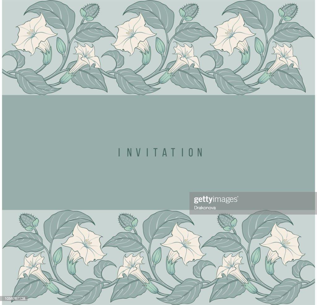 Art-nouveau floral datura invitation