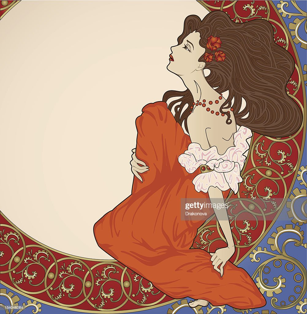 Art-nouveau lady sitting on floral frame