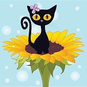 Ð¡artoon Black kitten