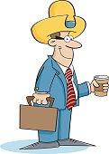 artoon businessman wearing a cowboy hat.